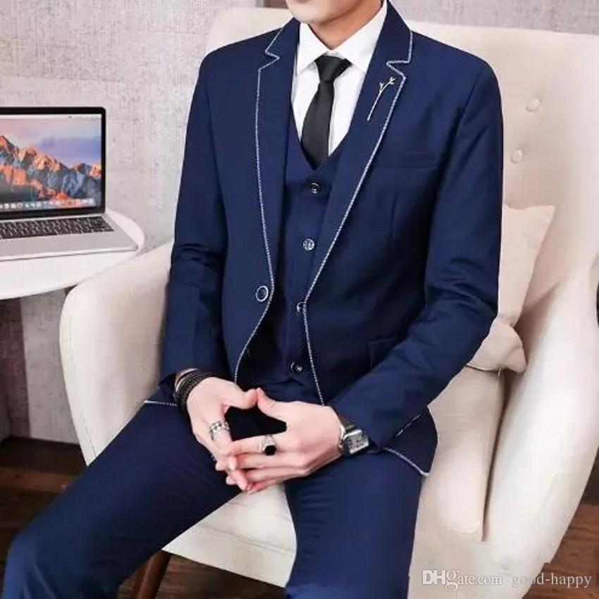 Brand New Navy Blue Tuxedos Cran Revers Groomsman Robe De Mariage Style Hommes Formelle Affaires De Bal Costume (Veste + Pantalon + Cravate + Gilet) 1891