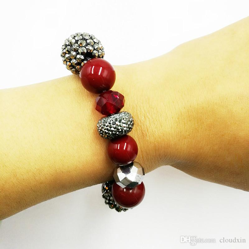 Lucky red acrylic bead bracelet women with shiny resin ball and crystal jewelry Best Gift Bracelets