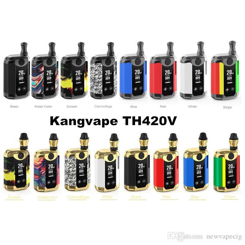 Kits de iniciación Kangvape TH-420 V auténticos 800mAh Vataje de voltaje variable Precalentamiento de la batería VV Mod Kangvape TH420 V 0.5ml Cartuchos de aceite grueso