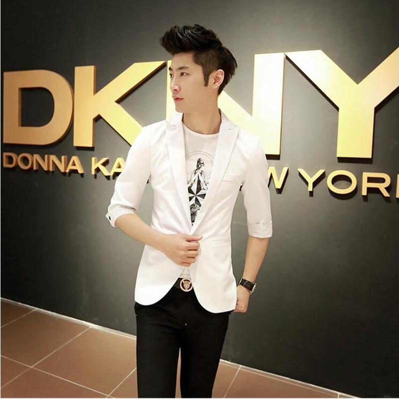 2017 Yeni Geliş Bahar Moda Vahşi Kore Şeker Renk Şık Slim Fit Erkekler Ceket Casual İş Elbise Blazers