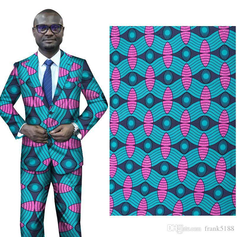 Hot Anzug Stoff 112-114cm breite Art und Weise Polyester-Gewebe für Kleid Hose afrikanischen geometrischen Batikdruck Tuch für den Großhandel