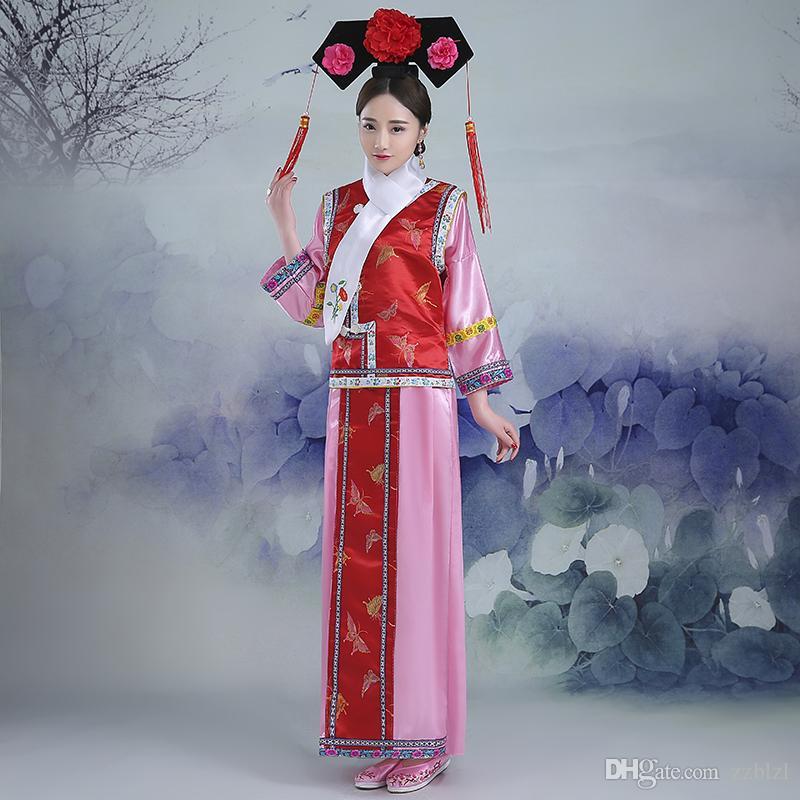 6 stili formato Busto 100 centimetri Cina dinastia Qing principessa Manchu corte bandiera costume delle donne di testa vestiti reali Manchu cour del costume