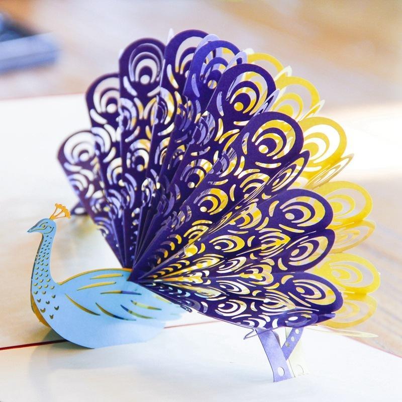 Día 3D de papel hecho a mano del pavo real tarjetas de regalo de la madre Tarjeta de felicitación creativa hueco Bendición tarjeta de felicitación para amigo