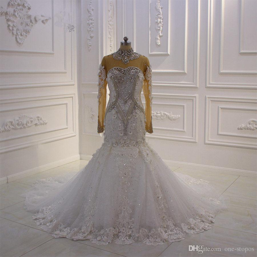 Sparkly Crystal Beaded Mermaid High Neck Wedding Dresses Luxury ...