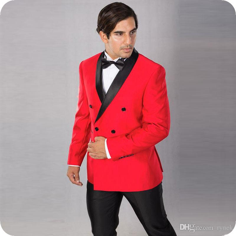 Red Groom Tuxedos Men Wedding Suits Black Shawl Lapel Two-Piece Side Vent Custom Made Groomsmen Suit Blazer Double Breasted Costume Homme