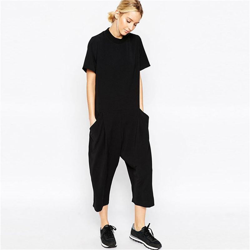 Verão preto macacãozinho Womens Jumpsuit elegante Side Pocket folgada Combinaison Femme Romper Roupa Jumpsuit para as mulheres