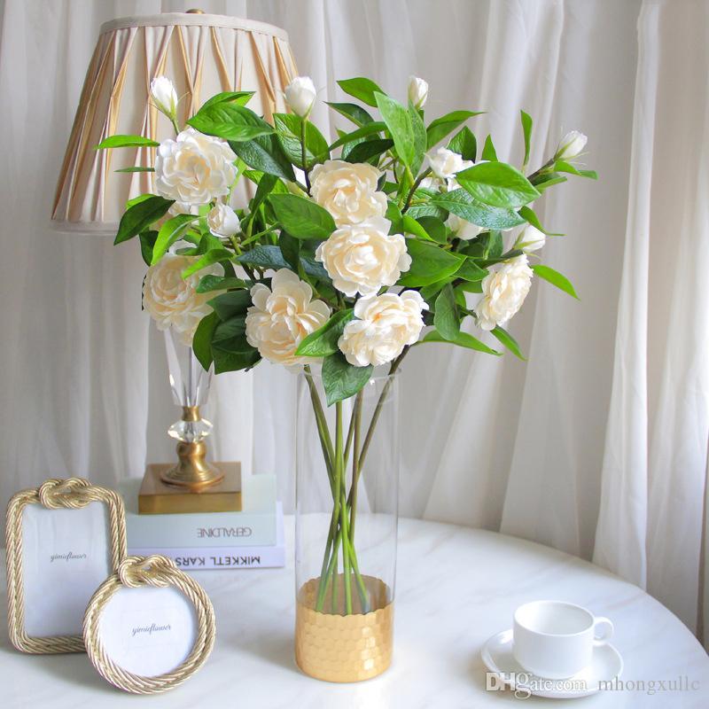 2PCS / LOT احدة فرع الاصطناعي كاميليا الحرير الزهور مناسبات الزفاف العروس القابضة زهرة ديكور المنزل ديزي فلوريس وهمية