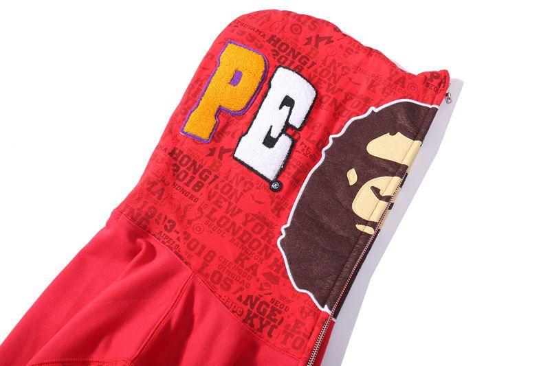 Erkek Hoodie Hip Hop Marka Fermuar Ceket Hoodie Pamuk Streetwear Sıcak Süveter erkekler Moda Stil Baş Biti Nakış Hoodie