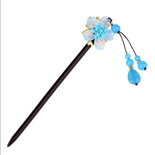 Wholesale 5 Pcs Inspiration Gold Plated Flower Blue and Green Colored Glaze for Women Wood Hairpin Jewelry