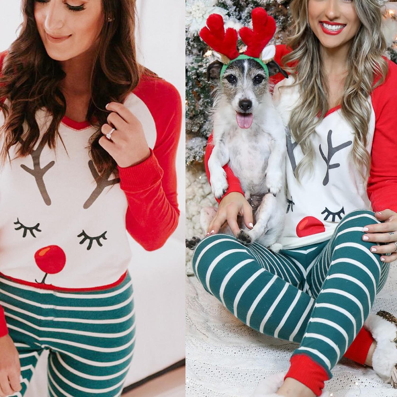 2019 Nouveau Pyjama de Noël pour les femmes d'hiver Imprimé cerfs communs de Noël pyjama filles Sets de ravissants tops et pantalons Kawaii Pyjama Femme T200110