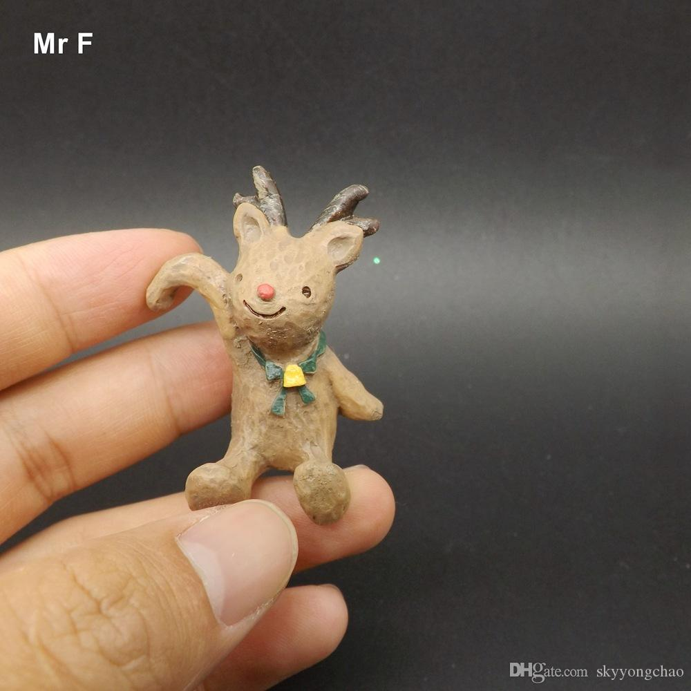 Nefis Diy Aksesuar Reçine Mini Noel Hayvanlar heykelcik Noel Heykeli Santa Süsleme Geyik Minyatür Model Oyuncak