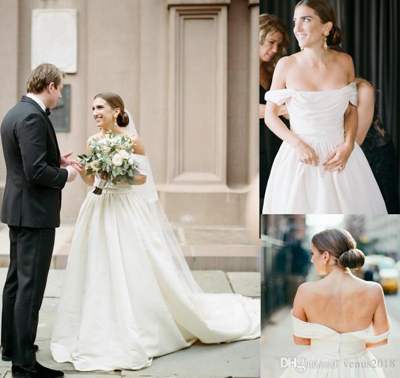 Robes de mariée drapées blanches simples à volants et à volants 2019 Vintage personnaliser la robe de mariée