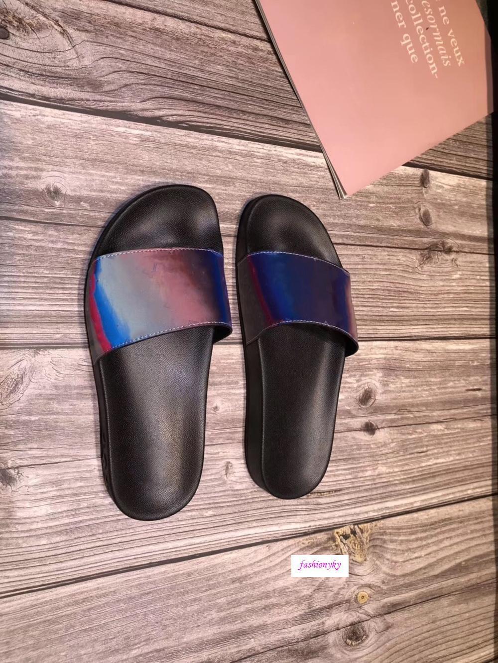 boxs ile Yaz Yeni Katır Terlik Düz Tasarımcı Ayakkabı Lüks Terlik Esnek Kauçuk Aşıklar terlik