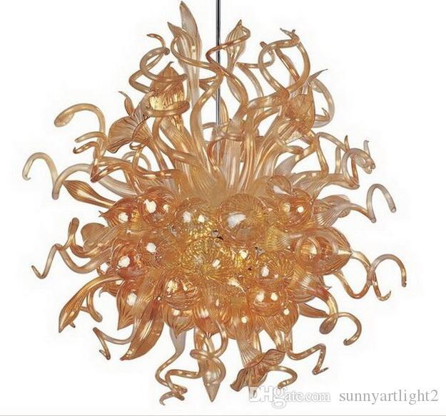 Estilo francês Único Lustre Iluminação Âmbar Cor Moderna Cadeia de Cristal Decorativa Pendurado Luzes de Teto de Arte de Vidro