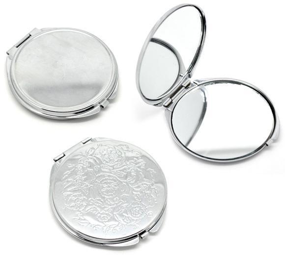Portátil de las mujeres de acero inoxidable espejo de maquillaje bolsillo de la mano del lado doblado cosmético maquillaje pequeño varias formas doble