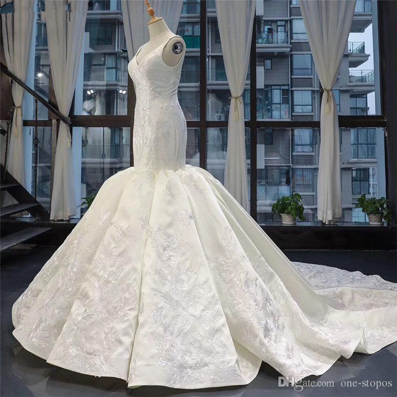 Abiti da sposa elegante sirena satinata bianca sexy immagini vere sexy 2020 v scollo a lace-up posteriore guaina plus size abito da sposa africano