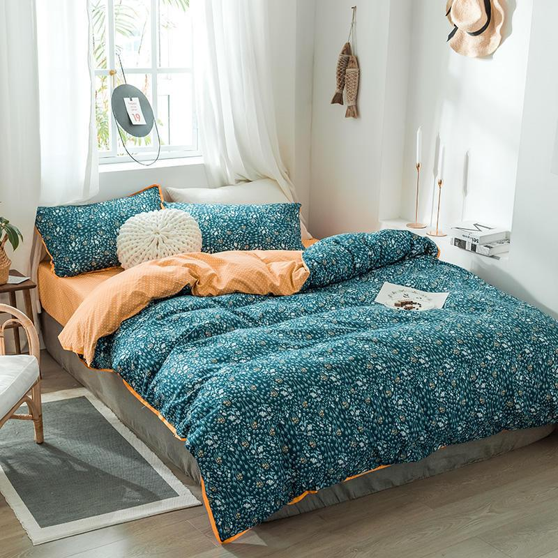 Bonenjoy Queen-Size-Bettwäsche-Set Blau und Orange Farbe Little Flower Bettwäsche Doppel Größe für Erwachsene Einzel Bettwäsche T200409