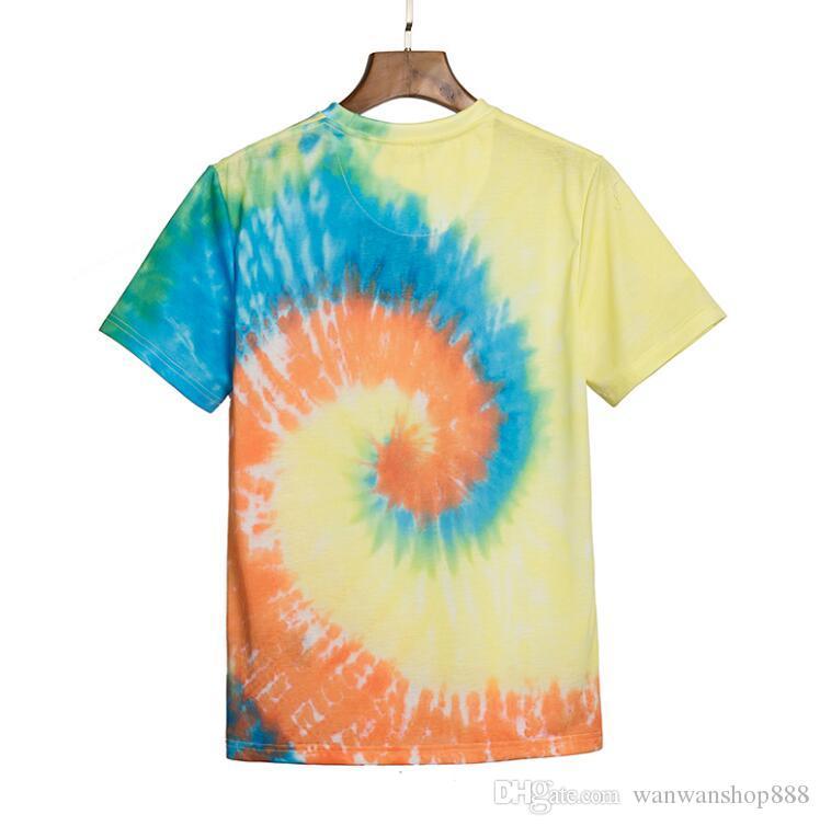 20SS лето новый галстук-краситель футболки мужчин и женщин свободно хлопка футболки топы пары припуск хип-хоп короткий рукав прилив тройники
