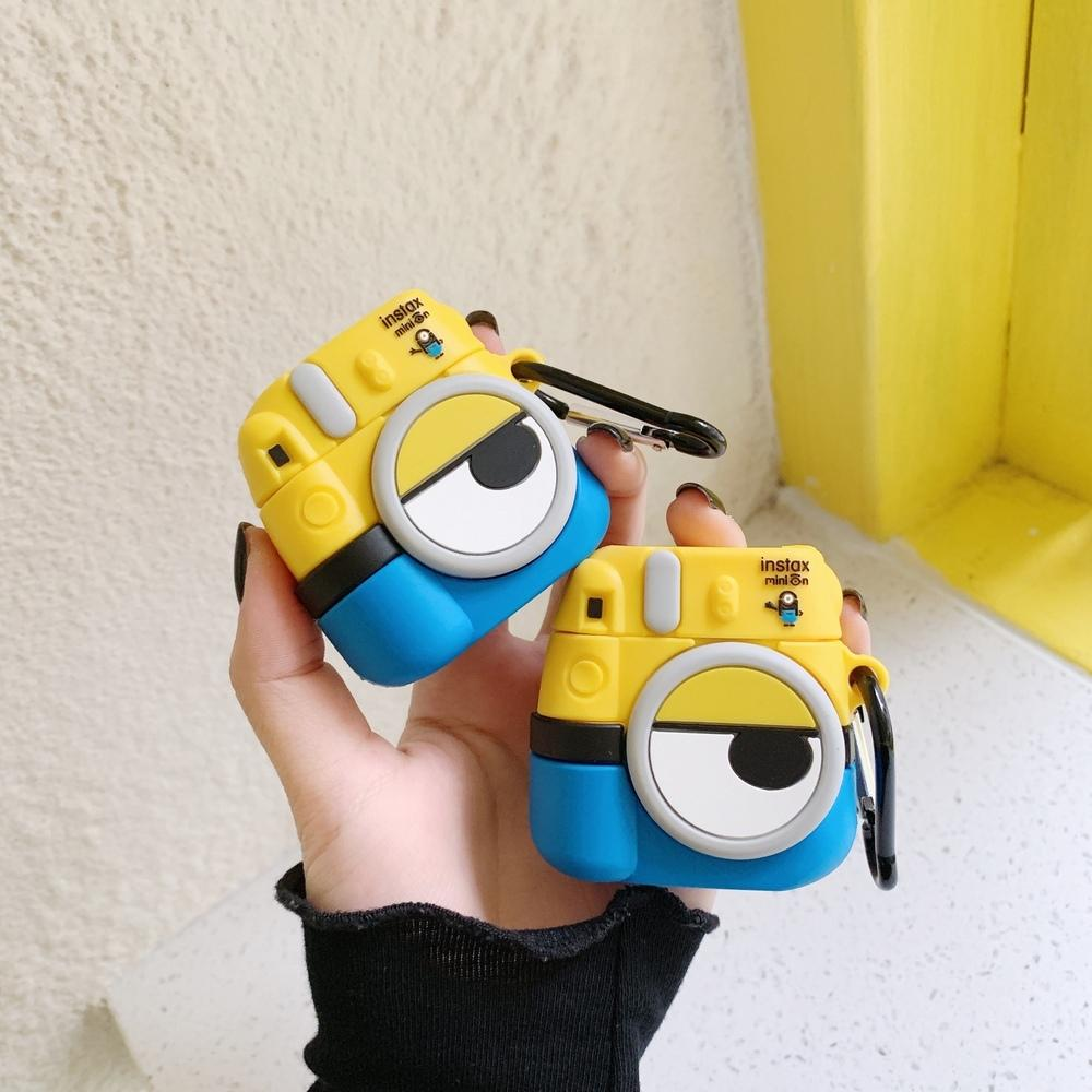 for apple Earphone Cases Bluetooth headset Cartoon Minions Camera Cute Earphone Case For apple airpods 1 2 soft Silicone protective cover