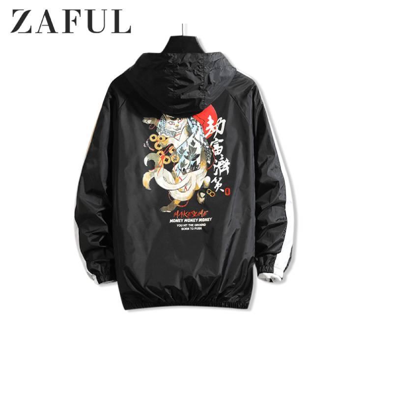 ZAFUL Cartoon-Katze Graphischer Druck Sunproof Kapuzenjacke 2019 Zip Up Men Geld Brief Lässige Street mit Taschen Herren Jacken