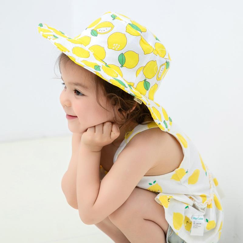 Oloey fresca del verano 2020 cubo fresco niños del sombrero de limón fruta de la fresa Pescador sombrero protector solar resistente al viento lindo sombreros del bebé