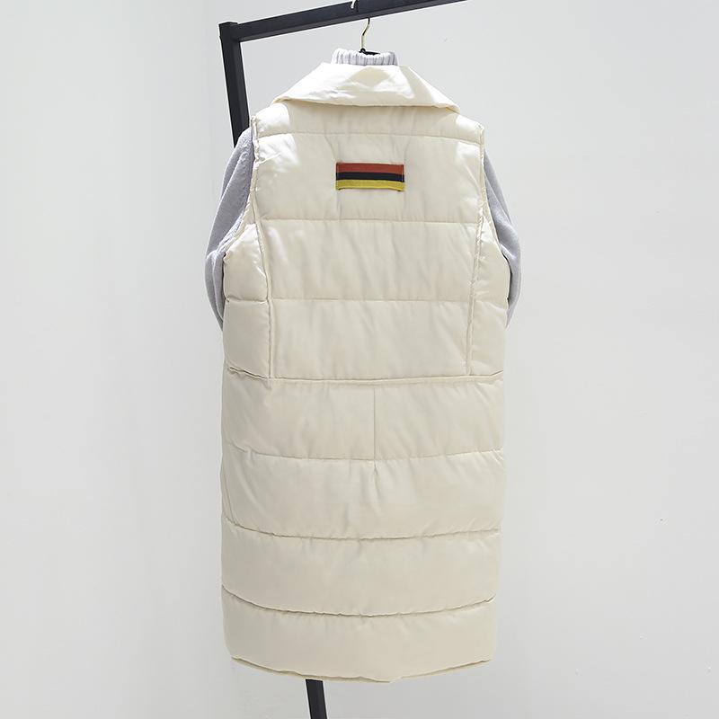 Nouveau hiver épaississent seul bouton coton chaud rembourré femmes gilet mode Version lâche femmes long manteau sans manches veste Femme