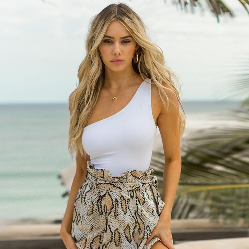 Ärmel Jumpsuits Frauen Kleidung der Frauen Designer schräge Schulter Overall Art und Weise dünne dünne Strampler beiläufige natürliche Farben