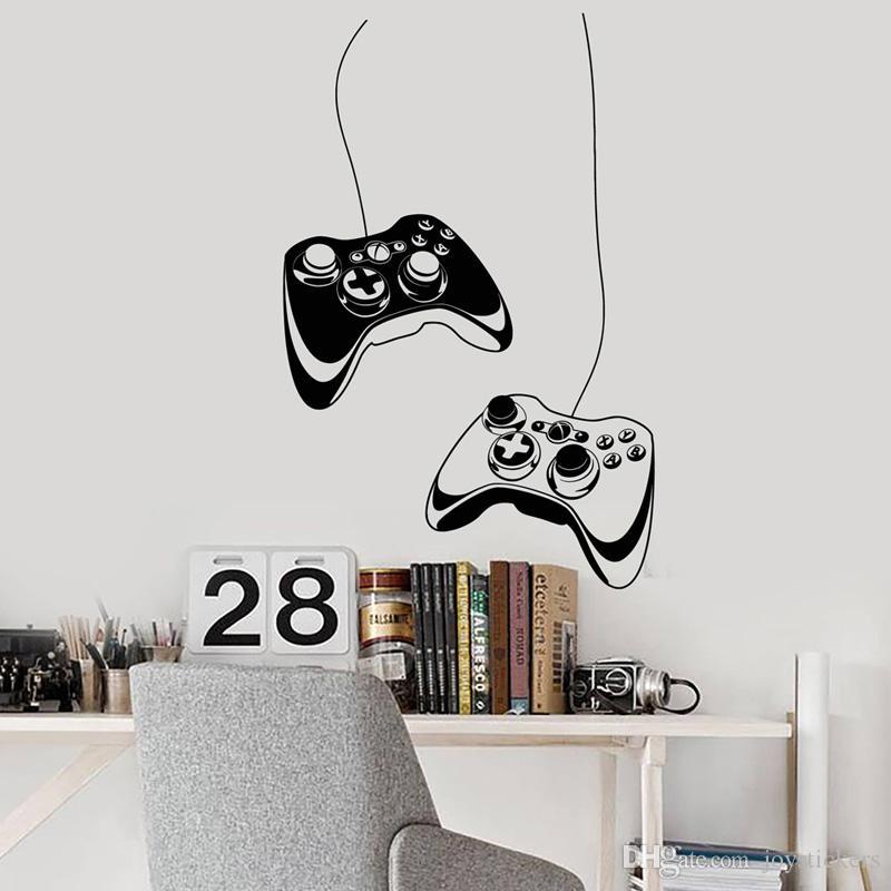 Vinyl Decalque dois joysticks Video Games Gamer quarto fresco Art Adesivos Mural Para Quarto adolescente do menino Wallpaper Decoração