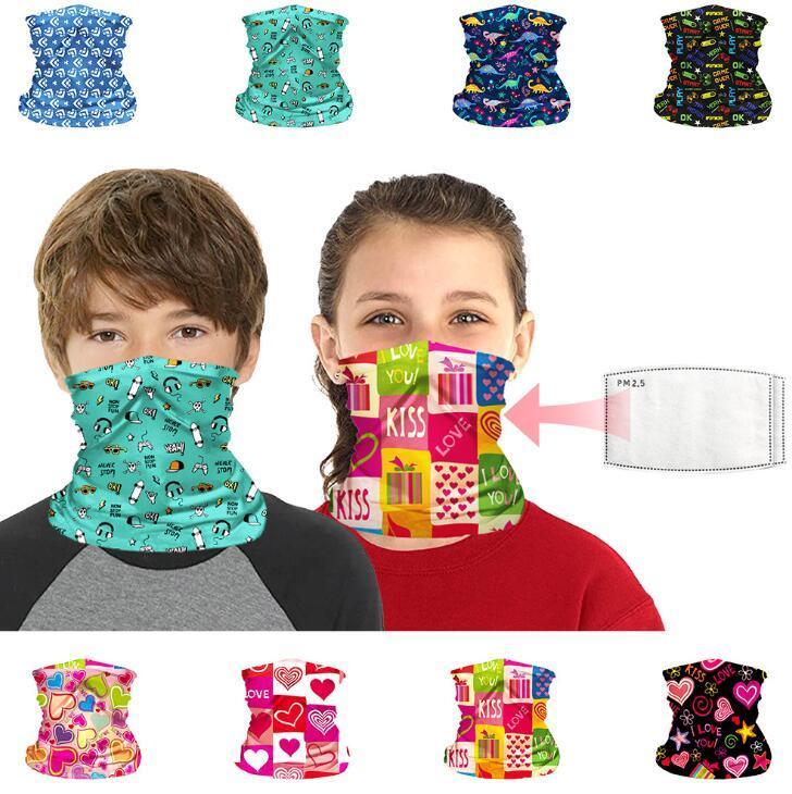 Masques réutilisables enfants Bandanas visage Protection UV Neck Gaiter Bandeau Lavable Écharpe Masques anti-poussière Bloc Cagoules Avec filtre
