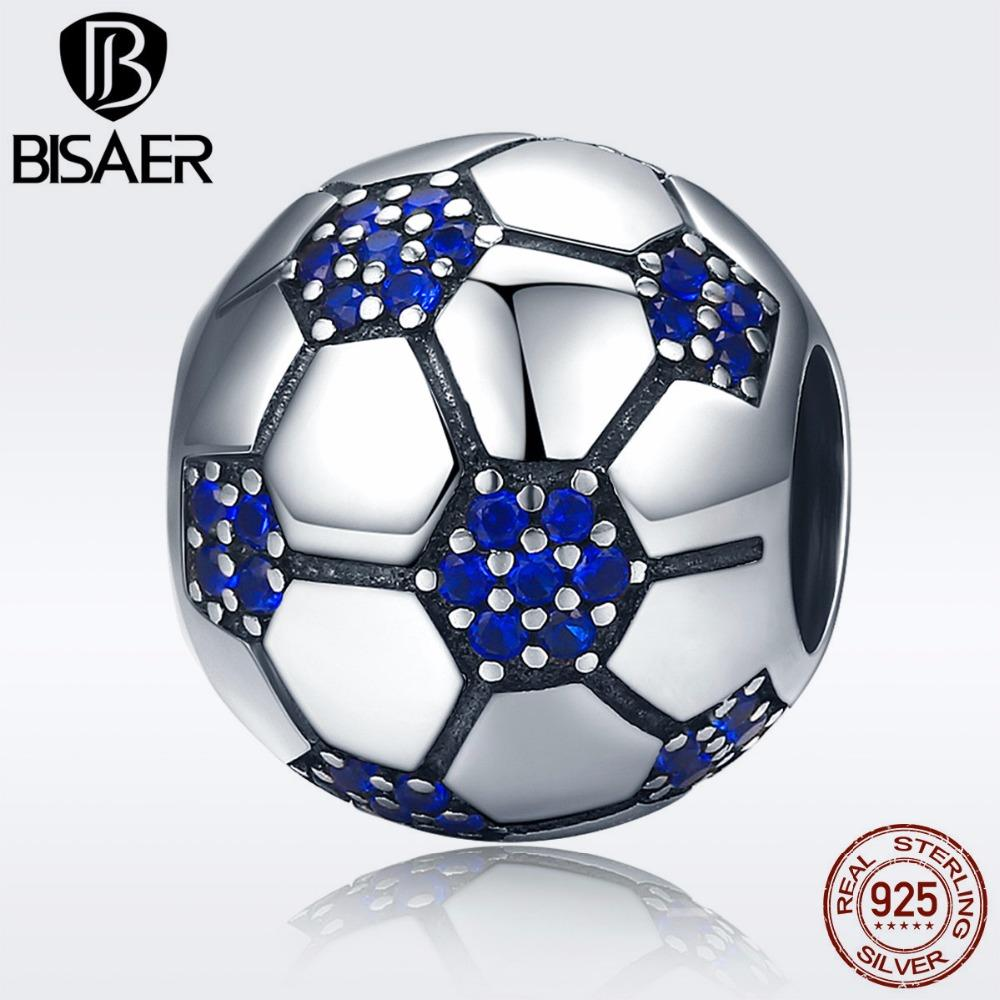 BISAER Authentic 925 Sterling Silver Football ball Sport Love Volleyball Soccer Balls Charms Fit Silver Beads DIY Jewelry Making