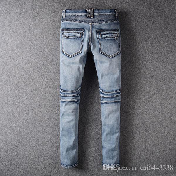 Jeans rasgados # 0512 Retro Elasticidade de Slim Juventude Moda de Streetwear dos homens Calças Qualidade Personalidade Calças Masculino Denim Distrressed