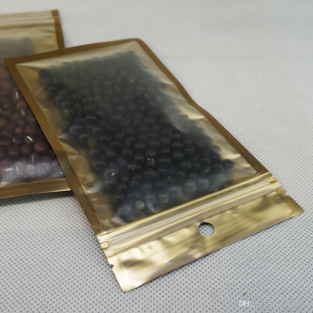 100pcs / çok güneş gözlüğü Kilitli torba, 7.5 x 12 cm, ön mat açık iç altın, alüminyum folyo fermuar kilidi kese, koyu golded telefon durumda yeniden torba