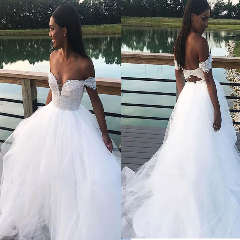 Chic Off the Shoulder Sweetheart Wedding Dresses Sexy Backless Lace Tulle Bridel Dress Beach Wedding Gown Cheap vestido de noiva