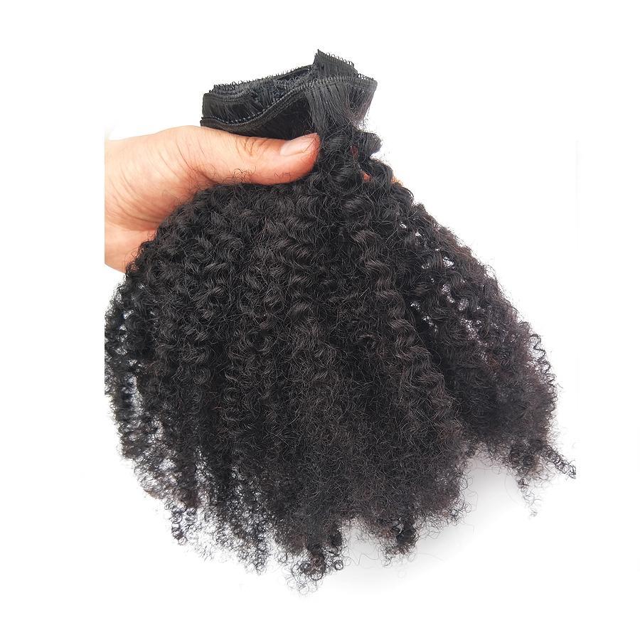 Afro Kinky Curly Clipe em Extensão Humana de Cabelo Mongólia Cabelo Virgem 4B 4C 120G / 8pcs 1B Cor Natural Preto Fábrica Direto Atacado Barato