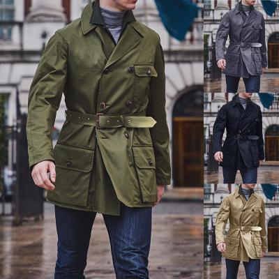 Мужские траншеи 2021 осенью и зимой сплошной цвет двубортный пояс пальто ветровка вскользь мода дикие длинные мужчины