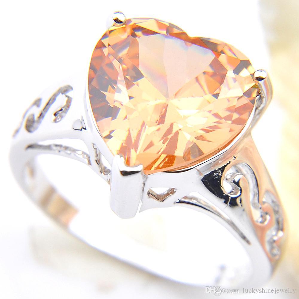 Luckyshine 10 cúbico de plata de las PC de las mujeres joyería de la boda en forma de corazón Champagne zirconia gemas 925 de los anillos de las mujeres Tamaño 7 8 9