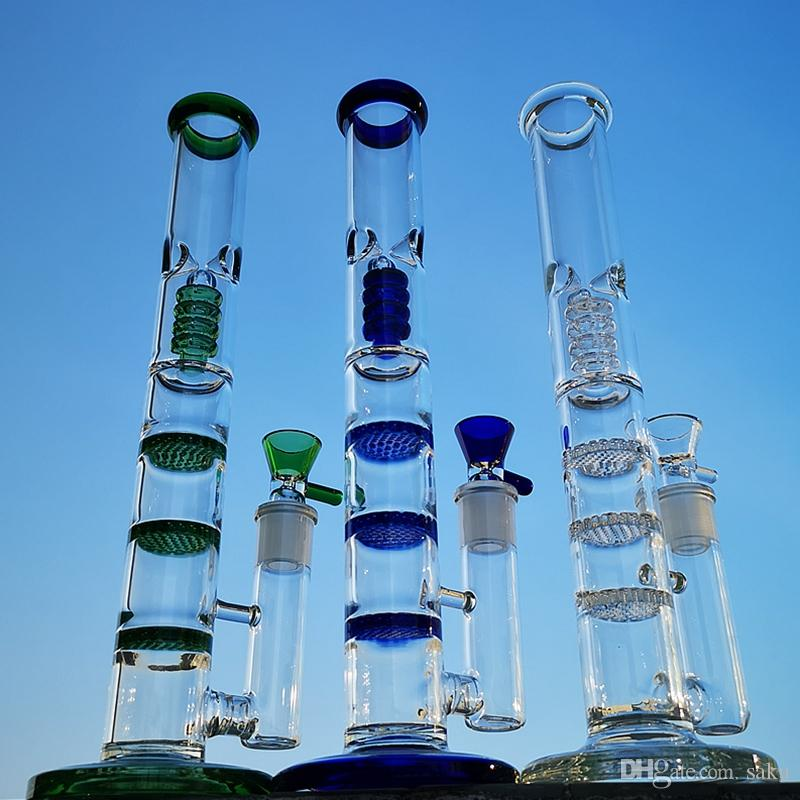 12 Inch Straight Tube Bongs Triple Honeycomb Perc Dab Rigs Birdcage Percolators Oil Rig Green Blue Water Pipes With Glass Bowl HR316