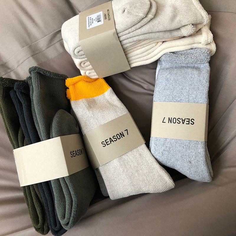 Season7 цвет чистый хлопок носки полное полотенце дно утолщение три пары High Street мужчины и женщины пара Colorblock чулки носок HFWPWZ011
