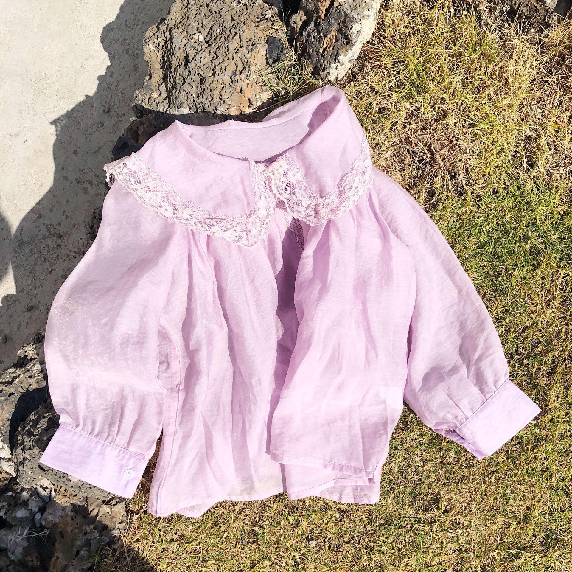 Bahar 2020 Yeni Kız Mor Dantel Gömlek Bebek Çocuk Uzun Kollu Şifon Tatlı Bluzlar Üst Bebek Bebek Moda Giyim