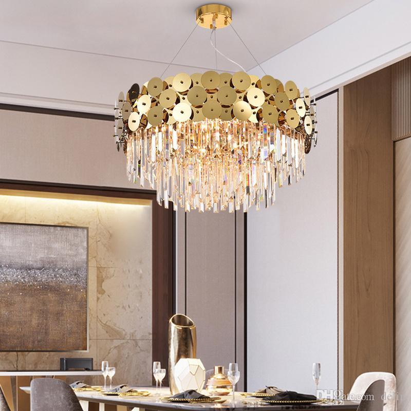 Modern LED E14 Sanat İmparatoriçe LED Yuvarlak Altın Bling Kristal Tavan Sarkıt Odası Ev Dekorasyon Işık Fikstür Yemek
