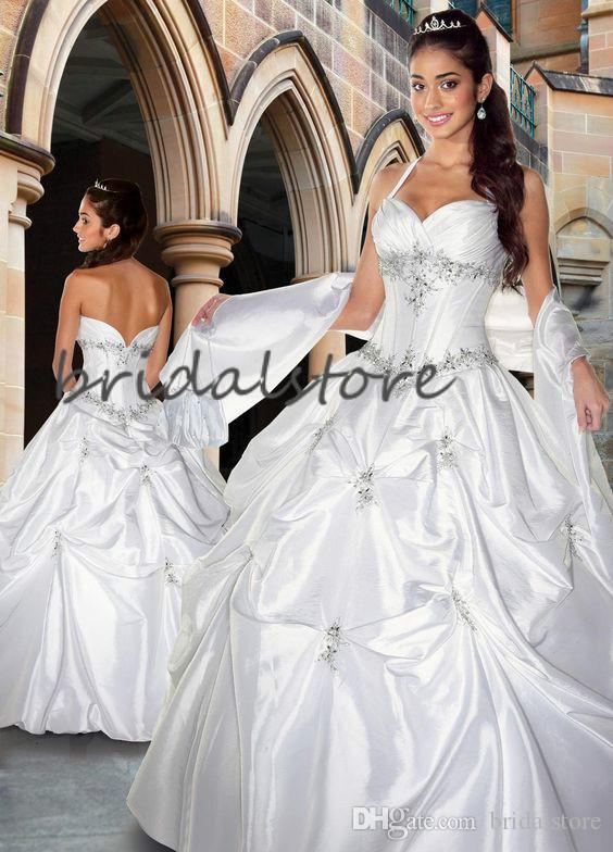 Cendrillon robe de bal robes de mariée Halter plissée perles Pays Robe de mariée Robes de mariée église Fluffy 2020 taffetas Zipper Retour Mariée