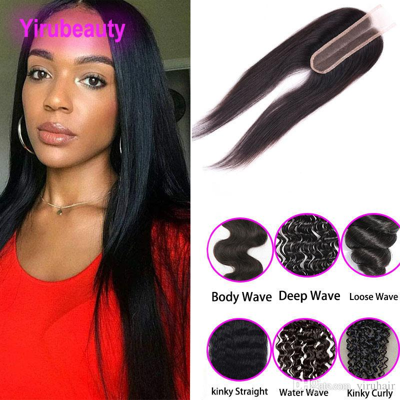 Indian Lace Closure 2X6 Human Hair Extensions Straight Deep Wave Body Loose Kinky Top Closure 2*6 Lace Closure With Baby Hair