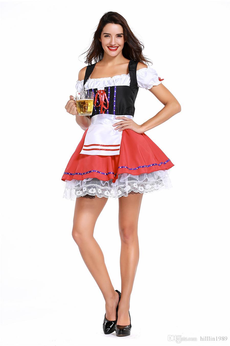 Women Carnival Sexy Short Oktoberfest Dress European Traditional Theme Costume German Bavarian Beer Girl Cosplay Uniform