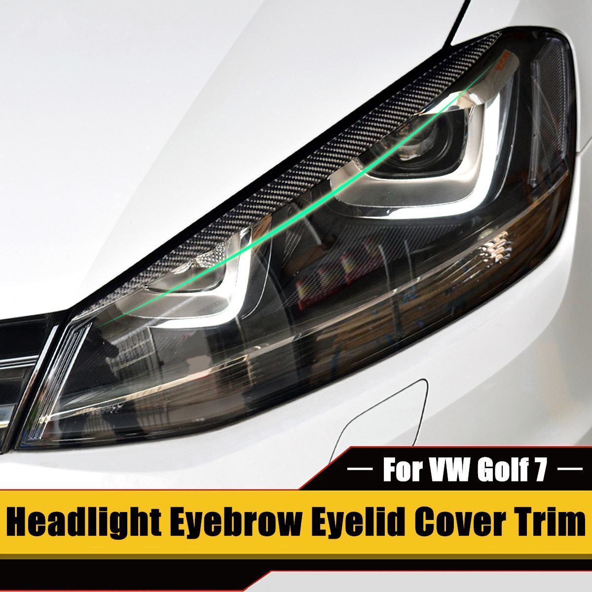 2 x faro sopracciglia palpebra disposizione della copertura della VW Golf 7 VII GTI GTD R MK7 2013-2017 in fibra di carbonio Eye-catching Visualizza Easy Install