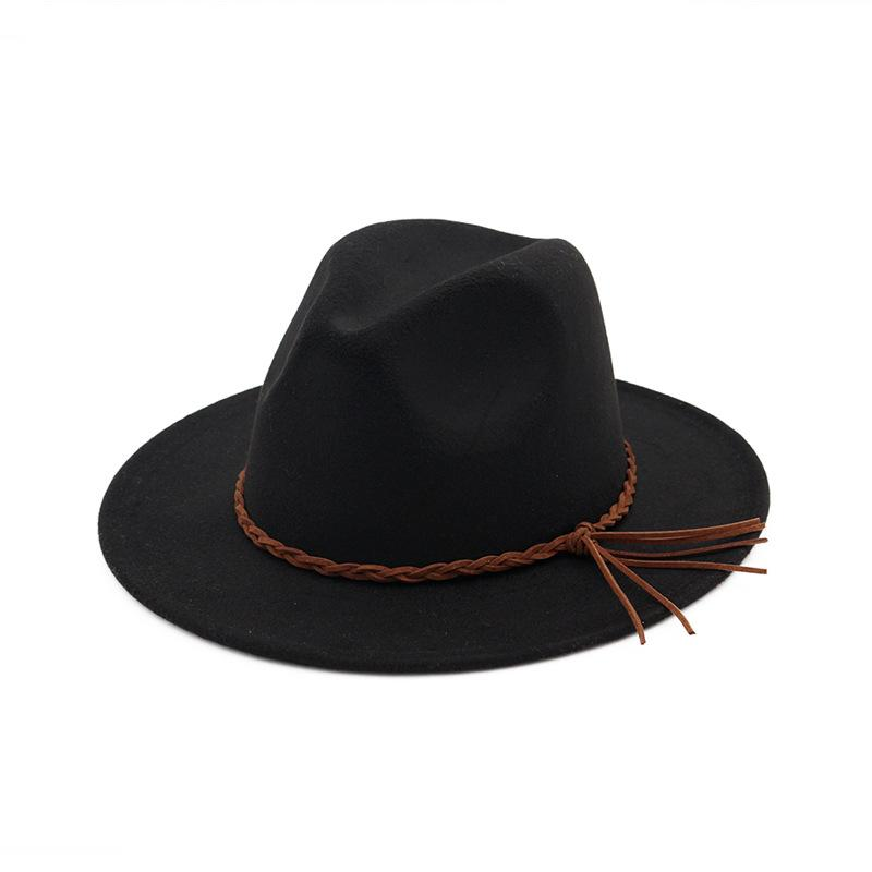 Herbst-Winter-Wollfilz Fedorahüte mit Woven-Band-Männer-Frauen-flacher Krempe Panama Trilby British Style Jazz Formal Hut