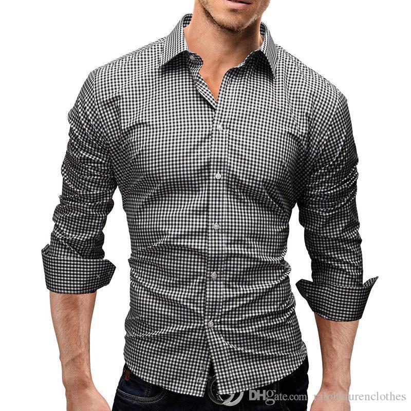 Плюс Размер мужские дизайнерские футболки плед Печать с длинным рукавом отложным воротником мужские рубашки Новое прибытие подростковая одежда