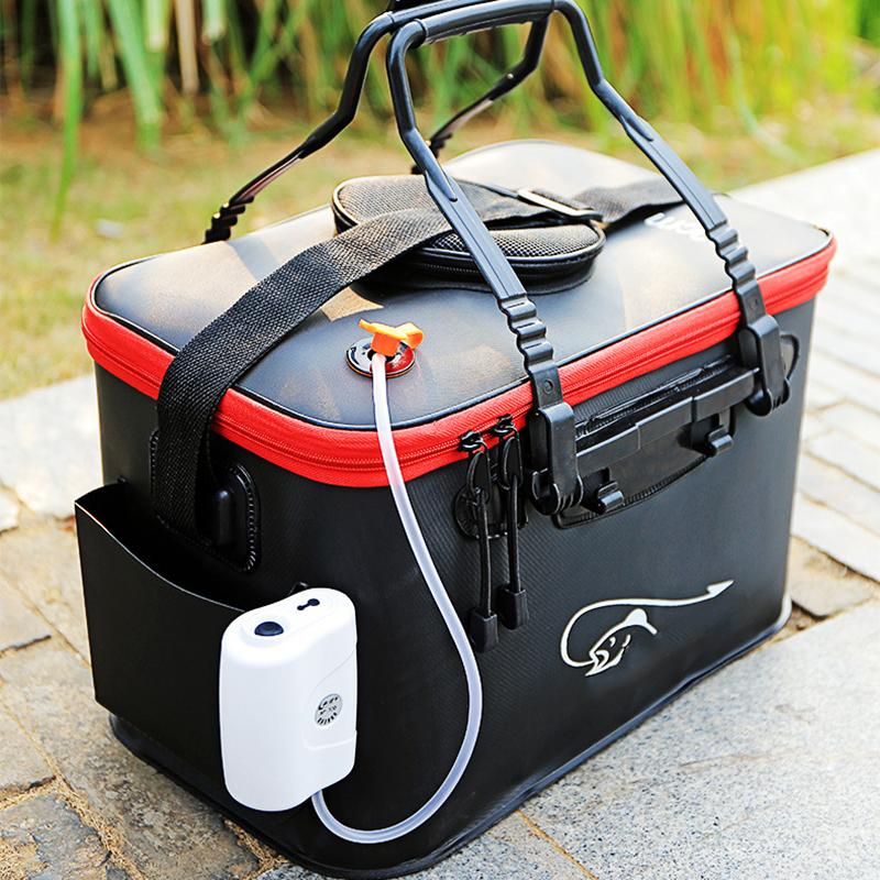 Cheap Bags Fishing Rod Bag Multi Collapsible Fishing Case Bucket Lure Live Bait Backpack Waterproof Outdoor Fish Box Tackle Storage Bags