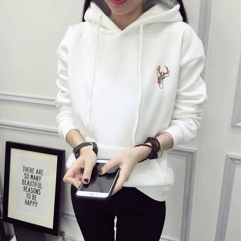 Kadınlar Casual Tişörtü Hoodie Harajuku Svitshot Giyim için Sonbahar Kış Hoody Moda Geyik Nakış Kapşonlu Eşofmanlar Kapüşonlular