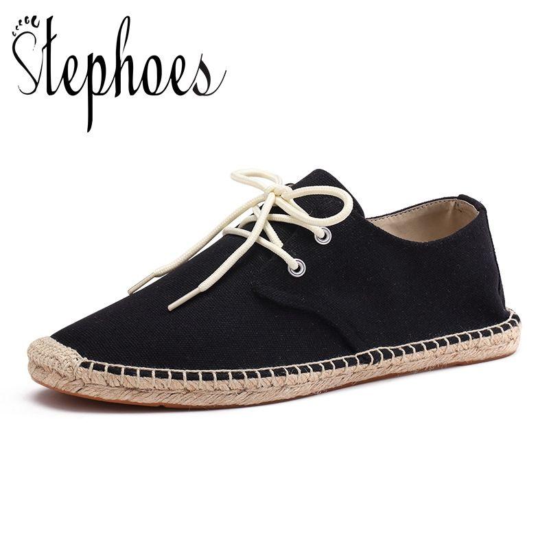 Stephoes الرجال التفاف قماش أحذية ذكر قماشية الصياد المتسكعون قارب القيادة أحذية الكتان تنفس القيادة