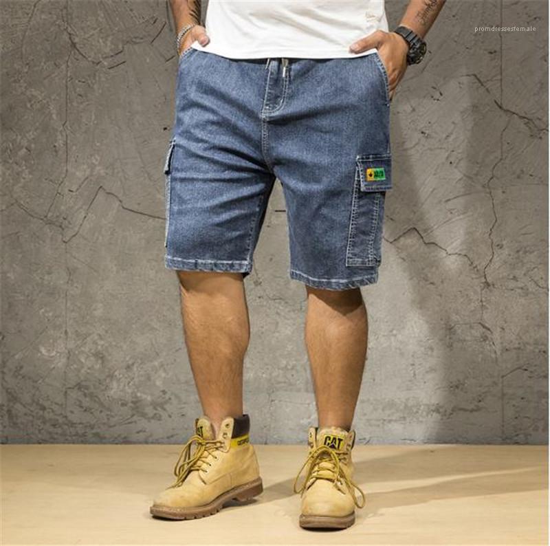Los pantalones cortos de ropa más conocidas Wahsed Relajado Pantalones cortos con bolsillos de los pantalones de verano para hombre como carga más talla de hombre